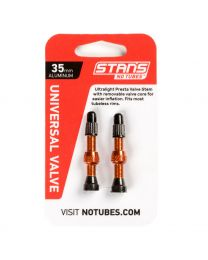 NoTubes ZTR Ventil Aluminium, orange, 35 mm, 2er Pack